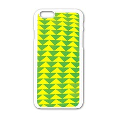 Arrow Triangle Green Yellow Apple Iphone 6/6s White Enamel Case by Mariart