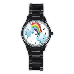 Could Rainbow Red Yellow Green Blue Purple Stainless Steel Round Watch by Mariart