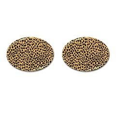 Cheetah Skin Spor Polka Dot Brown Black Dalmantion Cufflinks (oval) by Mariart