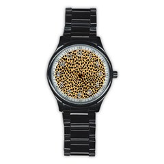 Cheetah Skin Spor Polka Dot Brown Black Dalmantion Stainless Steel Round Watch by Mariart