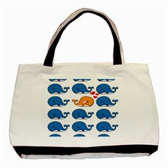 Fish Animals Whale Blue Orange Love Basic Tote Bag by Mariart