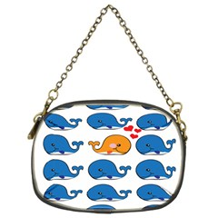 Fish Animals Whale Blue Orange Love Chain Purses (two Sides)  by Mariart