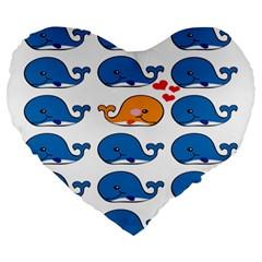 Fish Animals Whale Blue Orange Love Large 19  Premium Heart Shape Cushions by Mariart