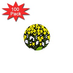 Flower Floral Sakura Yellow Green Leaf 1  Mini Magnets (100 Pack)  by Mariart