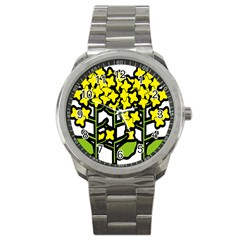 Flower Floral Sakura Yellow Green Leaf Sport Metal Watch by Mariart
