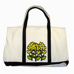 Flower Floral Sakura Yellow Green Leaf Two Tone Tote Bag by Mariart