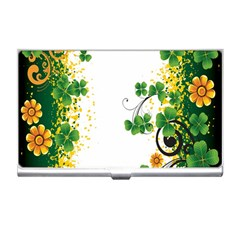 Flower Shamrock Green Gold Business Card Holders by Mariart