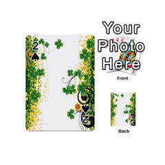 Flower Shamrock Green Gold Playing Cards 54 (mini)  by Mariart