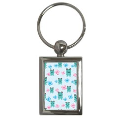 Frog Green Pink Flower Key Chains (Rectangle)