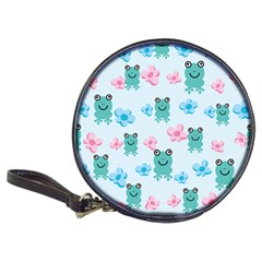 Frog Green Pink Flower Classic 20 Cd Wallets by Mariart