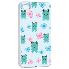 Frog Green Pink Flower Apple Iphone 4/4s Seamless Case (white) by Mariart