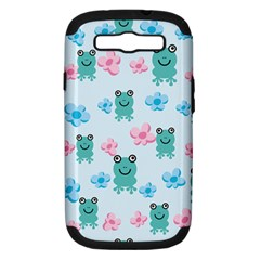 Frog Green Pink Flower Samsung Galaxy S Iii Hardshell Case (pc+silicone) by Mariart