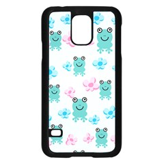 Frog Green Pink Flower Samsung Galaxy S5 Case (black) by Mariart