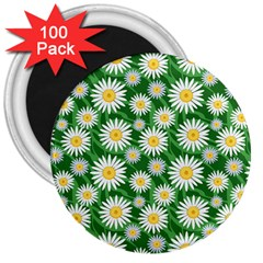 Flower Sunflower Yellow Green Leaf White 3  Magnets (100 Pack) by Mariart