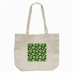 Flower Sunflower Yellow Green Leaf White Tote Bag (cream) by Mariart