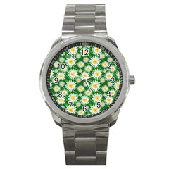 Flower Sunflower Yellow Green Leaf White Sport Metal Watch by Mariart