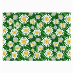 Flower Sunflower Yellow Green Leaf White Large Glasses Cloth by Mariart