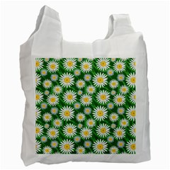 Flower Sunflower Yellow Green Leaf White Recycle Bag (one Side) by Mariart