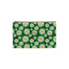 Flower Sunflower Yellow Green Leaf White Cosmetic Bag (small)  by Mariart