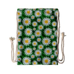 Flower Sunflower Yellow Green Leaf White Drawstring Bag (small) by Mariart