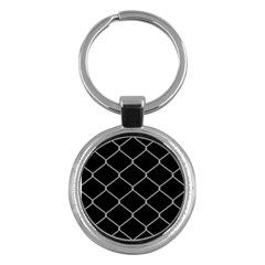 Iron Wire White Black Key Chains (round)  by Mariart