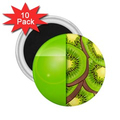 Fruit Slice Kiwi Green 2 25  Magnets (10 Pack)  by Mariart