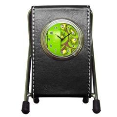Fruit Slice Kiwi Green Pen Holder Desk Clocks by Mariart