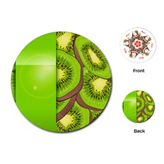 Fruit Slice Kiwi Green Playing Cards (round)  by Mariart