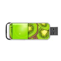 Fruit Slice Kiwi Green Portable Usb Flash (one Side) by Mariart