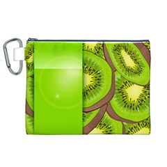 Fruit Slice Kiwi Green Canvas Cosmetic Bag (xl) by Mariart