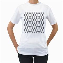 Iron Wire Black White Women s T Shirt (white)  by Mariart