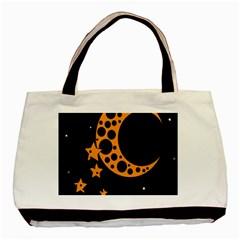Moon Star Space Orange Black Light Night Circle Polka Basic Tote Bag by Mariart