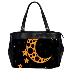 Moon Star Space Orange Black Light Night Circle Polka Office Handbags (2 Sides)  by Mariart