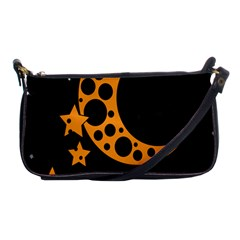 Moon Star Space Orange Black Light Night Circle Polka Shoulder Clutch Bags by Mariart