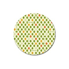 Merry Christmas Polka Dot Circle Snow Tree Green Orange Red Gray Magnet 3  (round) by Mariart