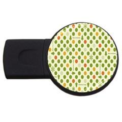 Merry Christmas Polka Dot Circle Snow Tree Green Orange Red Gray Usb Flash Drive Round (2 Gb) by Mariart