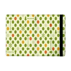 Merry Christmas Polka Dot Circle Snow Tree Green Orange Red Gray Apple Ipad Mini Flip Case by Mariart