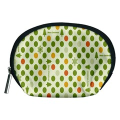 Merry Christmas Polka Dot Circle Snow Tree Green Orange Red Gray Accessory Pouches (medium)  by Mariart