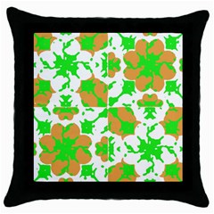 Graphic Floral Seamless Pattern Mosaic Throw Pillow Case (black) by dflcprints