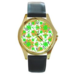 Graphic Floral Seamless Pattern Mosaic Round Gold Metal Watch by dflcprints