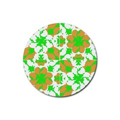 Graphic Floral Seamless Pattern Mosaic Rubber Coaster (round)  by dflcprints