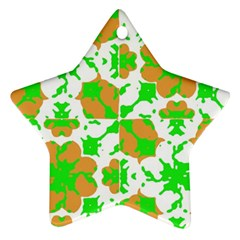 Graphic Floral Seamless Pattern Mosaic Star Ornament (two Sides) by dflcprints