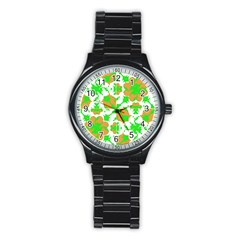 Graphic Floral Seamless Pattern Mosaic Stainless Steel Round Watch by dflcprints