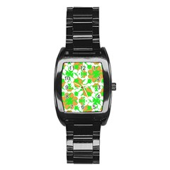 Graphic Floral Seamless Pattern Mosaic Stainless Steel Barrel Watch by dflcprints