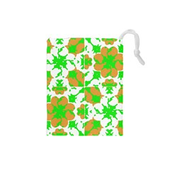Graphic Floral Seamless Pattern Mosaic Drawstring Pouches (small)  by dflcprints