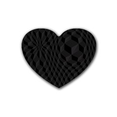 Black Pattern Dark Texture Background Rubber Coaster (heart)  by Nexatart
