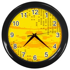 Texture Yellow Abstract Background Wall Clocks (black) by Nexatart