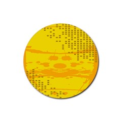 Texture Yellow Abstract Background Rubber Coaster (round)  by Nexatart