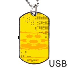 Texture Yellow Abstract Background Dog Tag Usb Flash (one Side) by Nexatart