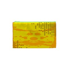 Texture Yellow Abstract Background Cosmetic Bag (xs) by Nexatart